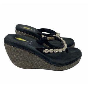 Volatile black jewel stone wedge Platform sandal 7